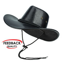Factory Black Cow Leather / PU Leather Adult Plain Custom Western Men's Cowboy Hats