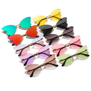 THREE HIPPOS 2020 new arrivals Butterfly shaped sunglasses metal framework Rimless Shades Colorful party Sun Glasses