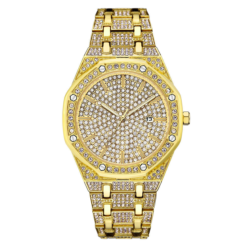 YT021 Full Diamond Watch Men Luxury Diamond bling Watches Top Brand Luxury High Quality Male Quartz Watch
