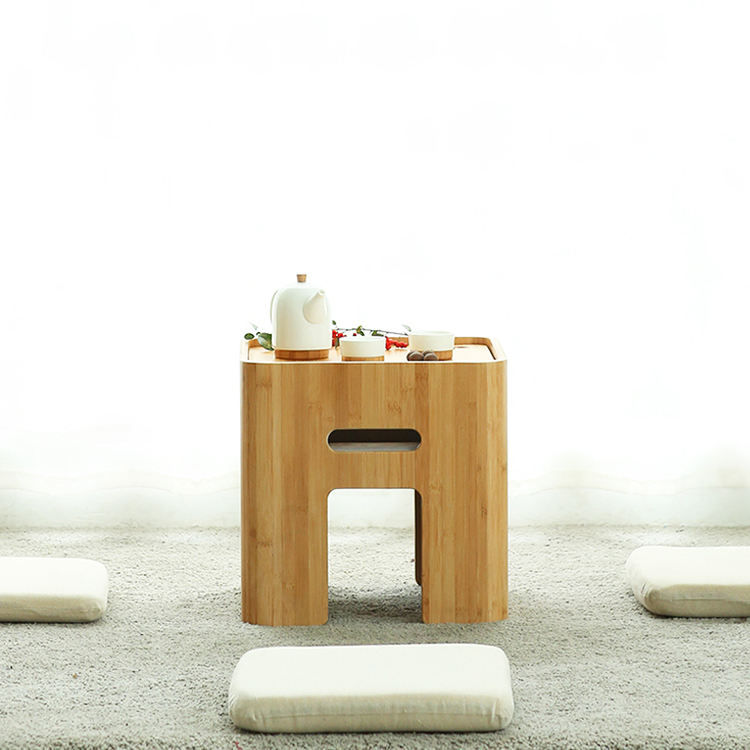 Bamboo Wood Living Room Furniture Small Coffee Table Tatami Tea Table Tea Table Set with Storage Box and 4 Cushions