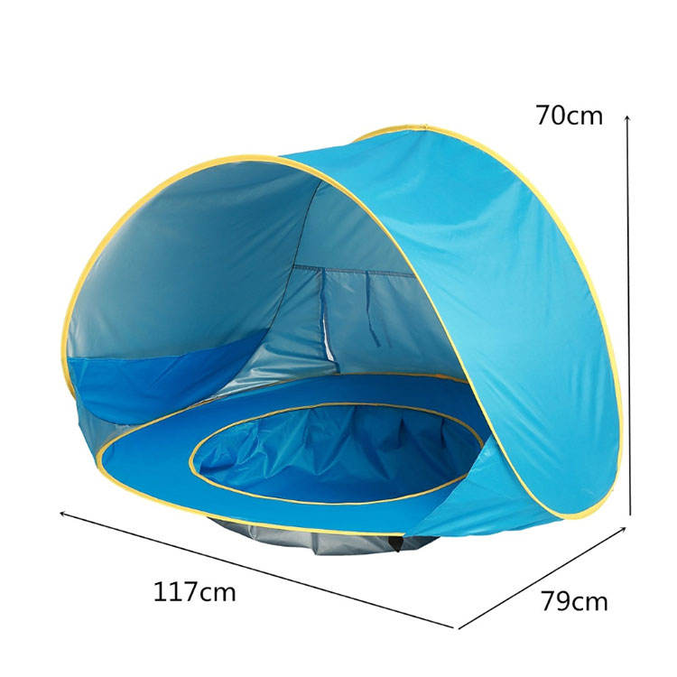 Children Waterproof Pop Up Sun Uv-protecting Sunshelter Baby Beach Tent With Pool