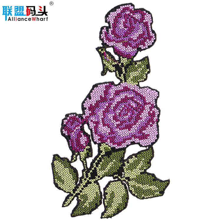 Wholesale Hot Melt Adhesive Applique Rose Flower Floral Patch Machine Embroidery Design Handicraft Completed Cross Stitch
