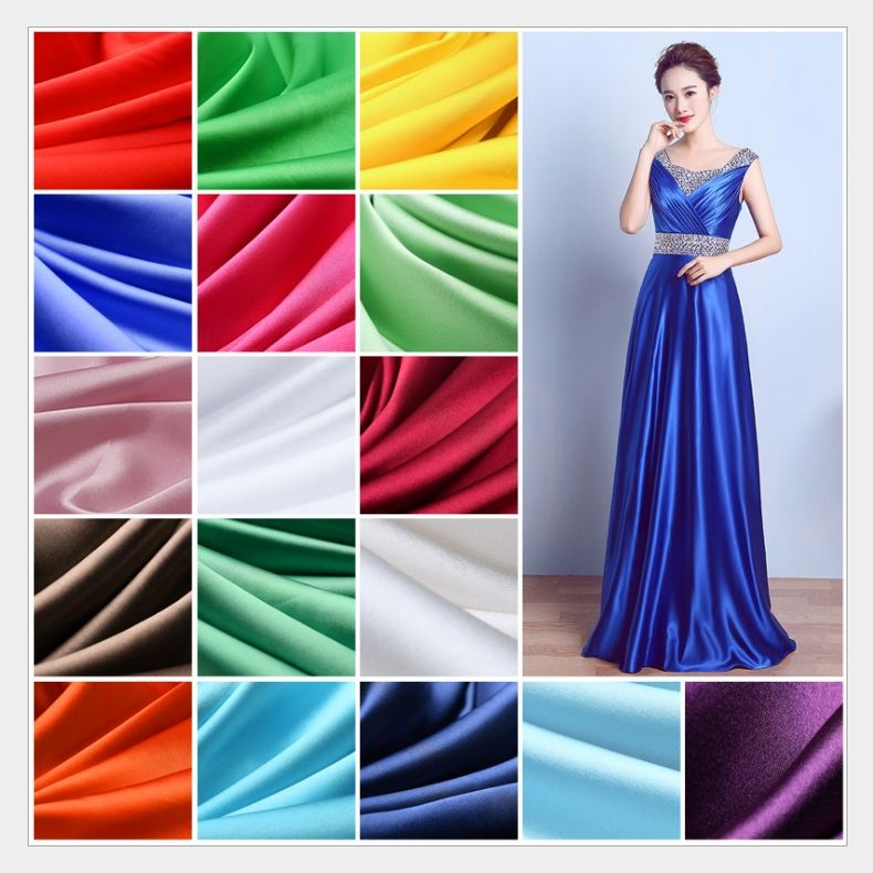150cm Width 38Colors Silk Cloth Satin Fabric for box lining home dress curtain wedding party decoration sewing background