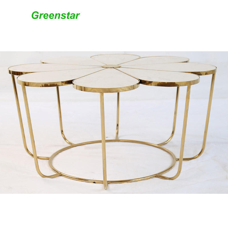 Flower Shape Minimal Clear Glass Round Top Gold Metal Legs Sofa Side Tables Coffee