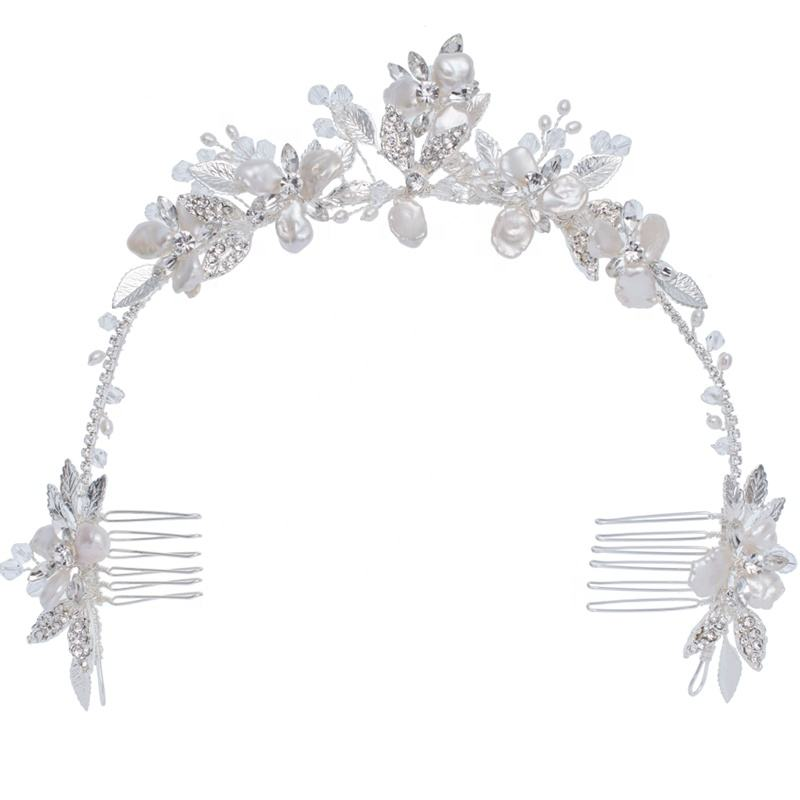 Fashion Pretty Silver Leaf Flower Crystal Hairbands Crown Handmade Headdress Shell Floral Hair Combs For Women