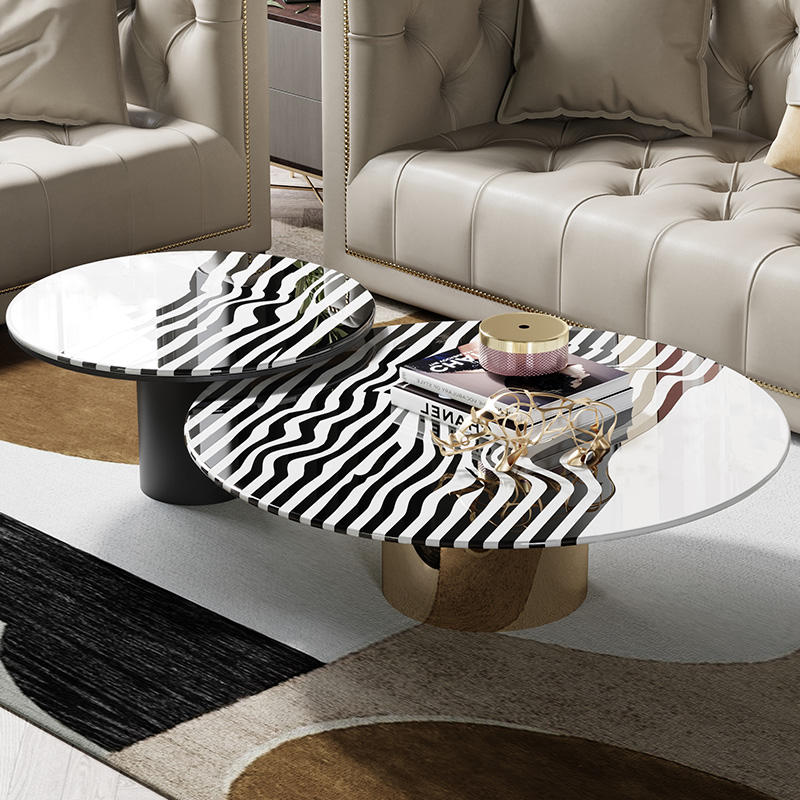 Luxury Home Coffee Shop Furniture Zebra Stripes Steel Coffee Table Designs Multifunction