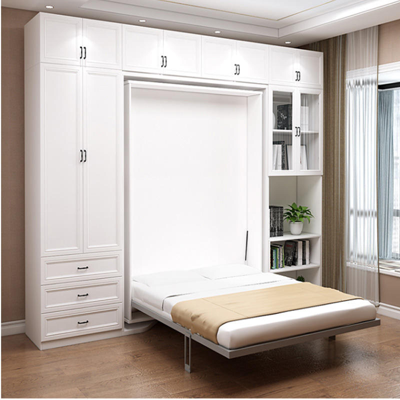 Modern Multifunctional Space Saving Bedroom Furniture Swivel Murphy Wall Bed
