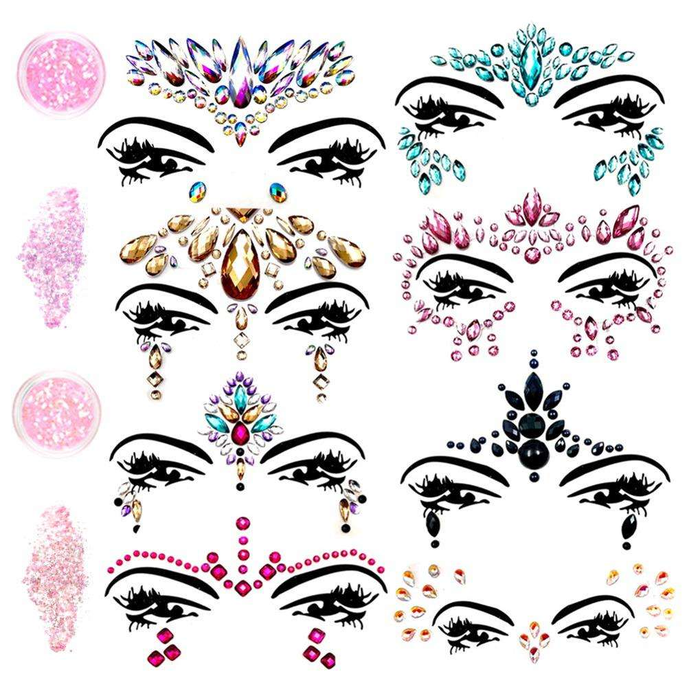 Stick On Crystals Bindi Rainbow Tears Face Gems Festival Jewels