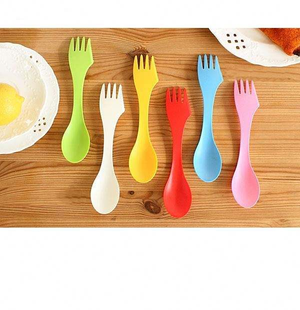 6pcs Spork Knife Creative Three In One Knife And Fork Outdoor Tableware Multifunctional Children's Knife And Fork Spoon