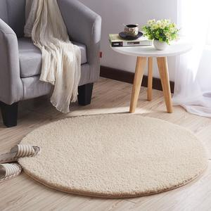Household modern shaggy cashmere bedroom play rabbit fur rug carpet round
