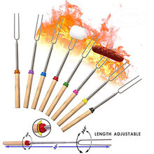 Wholesale BBQ Sticks Stainless, Steel Campfire Bonfire Telescoping Hot Dog Marshmallow Roasting Sticks/