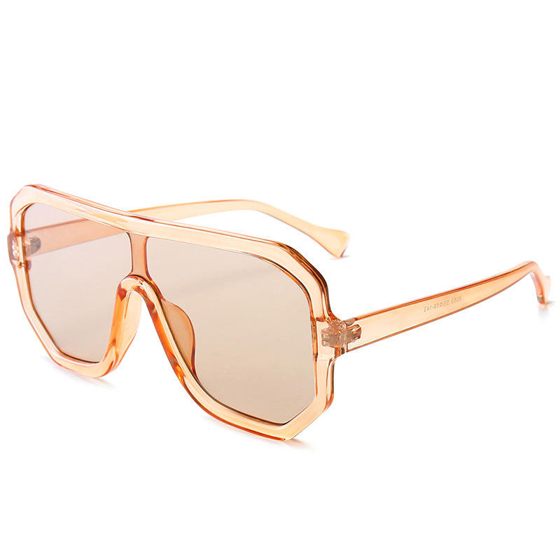 Fashion large frame conjoined lens sunglasses Classic large frame transparent champagne frame sunglasses UV400 glasses