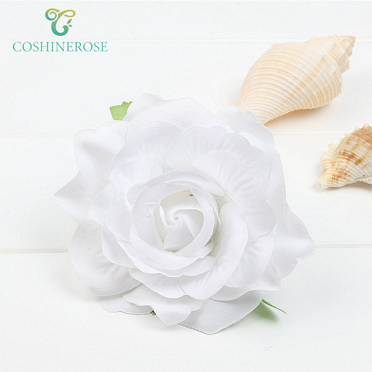 Coshinerose White Artificial Flowers Silk Rose Head With Clip And Pin Hair Decor For girls Beach Decor