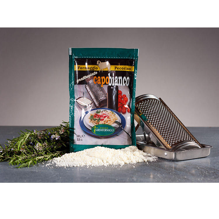 Grated Pecorino Romano PDO Bronzetto Fetafeta Cheese Bag Table Cheese Italy Cheese