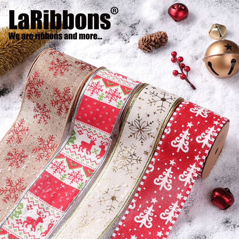 Wholesale 60mm Burlap Fabric Xmas Ribbons Roll Gift Bows Wide Wired Edged Christmas Burlap Ribbon