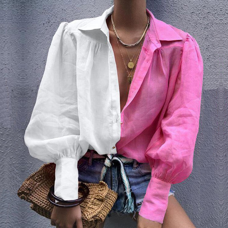 sexy lady Turn-down Collar bubble sleeves fall blouse tops