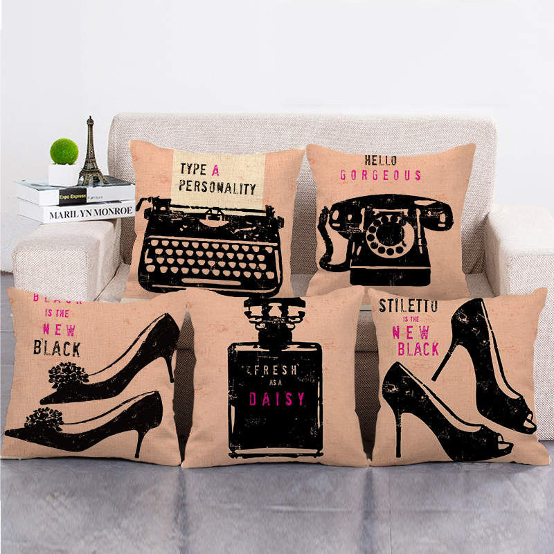 Pillowcase Retro typewriter and telephone cushion cover Amazon supplier linen/cotton throw pillow cover decorative pillows