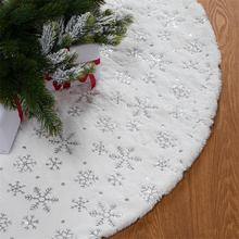 Xmas Tree Decorations Silver Sequin White Christmas Tree Skirt Faux Fur Plush 48 Inches Tree Skirt