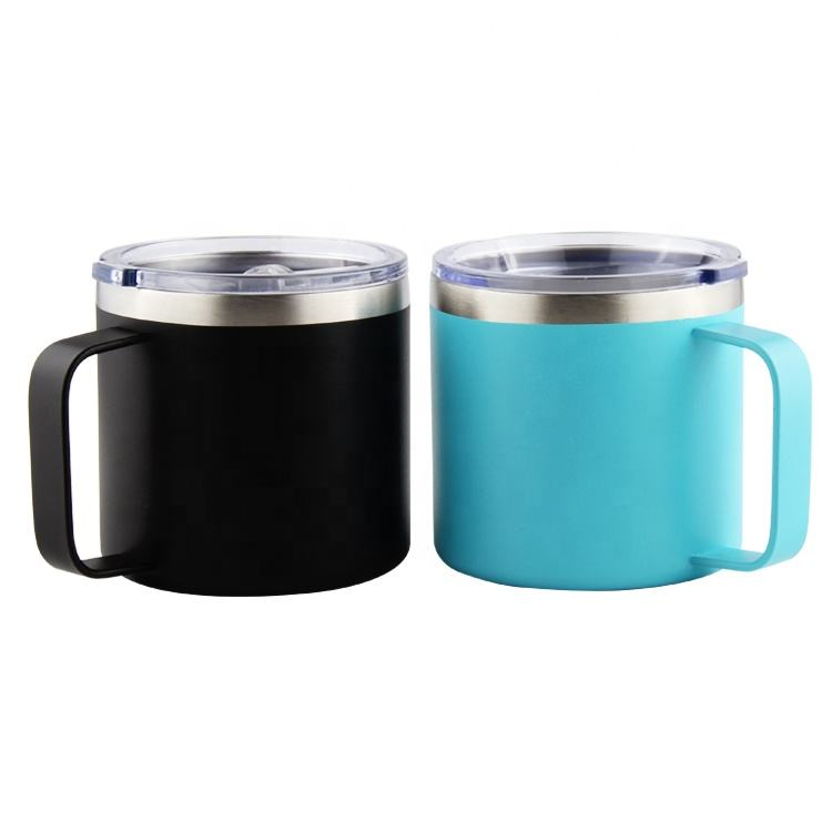 High quality powder coat painting handle vacuum coffee cup mug with lid,14oz tumbler mug small MOQ