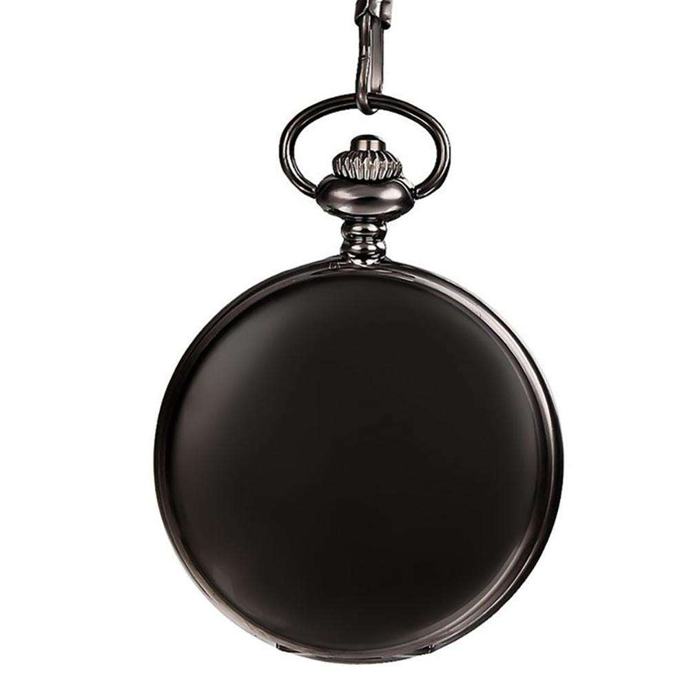 Free Shipping Modern Black Smooth Pocket Watch Quartz with Watch Chain
