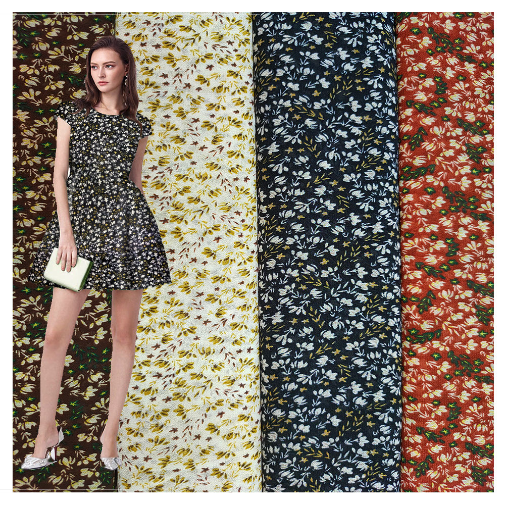 New Product Beautiful Dress Material flowers Printed Chiffon Fabric