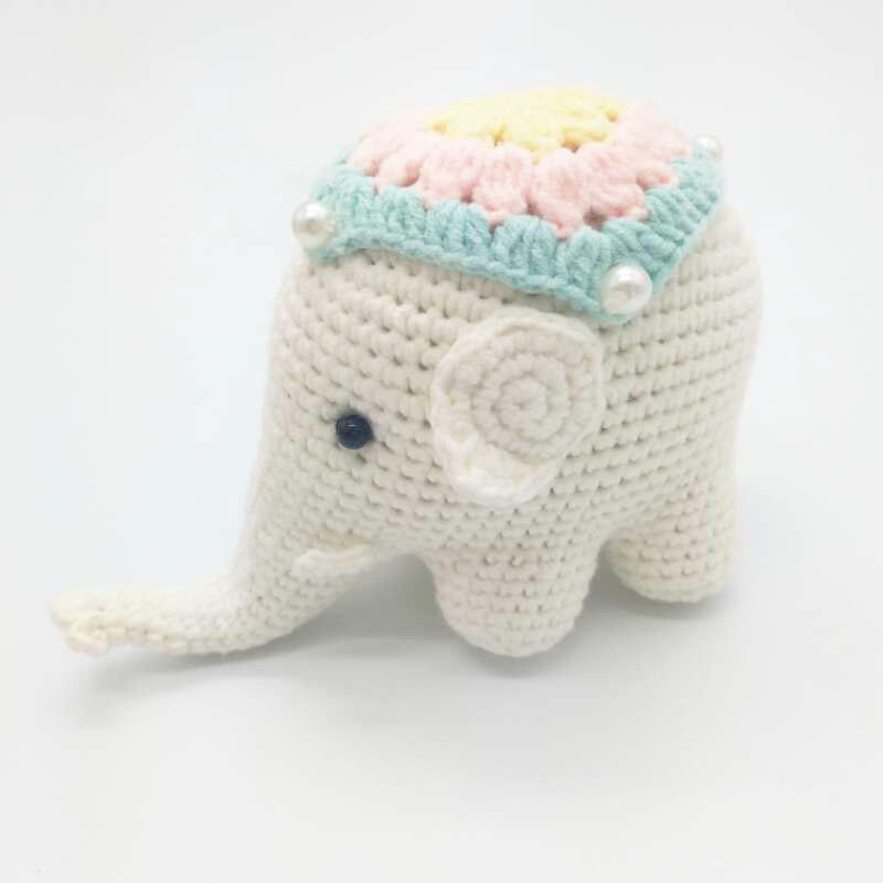 APHACATOP White Knitted Stuffed Elephant 100% Handmade Amigurumi Toy Crochet Toy