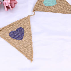 3M Burlap Pennant Banner with Love Heart Decoration Bunting Banner Hanging Garland for Wedding Party