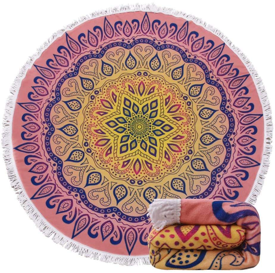 ShengChun Factory wholesale New Summer Large Microfiber Mandala Printed 1.5m Round Beach Towels With Tassel