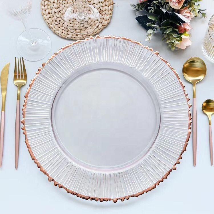 Wholesale new design gold rim charger plates wedding clear glass tableware