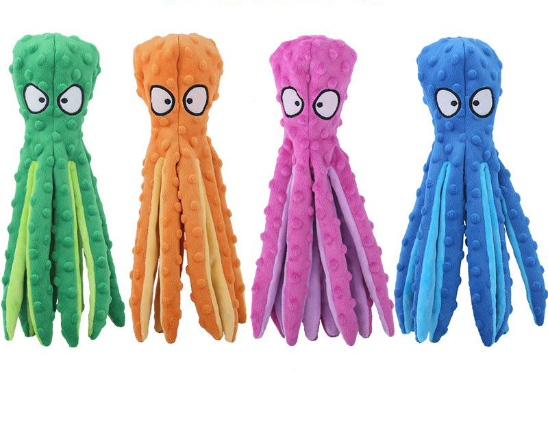Dog Squeaky Toys Octopus No Stuffing Crinkle Plush Dog Toys for Puppy Teething Durable Interactive Dog Chew Toys