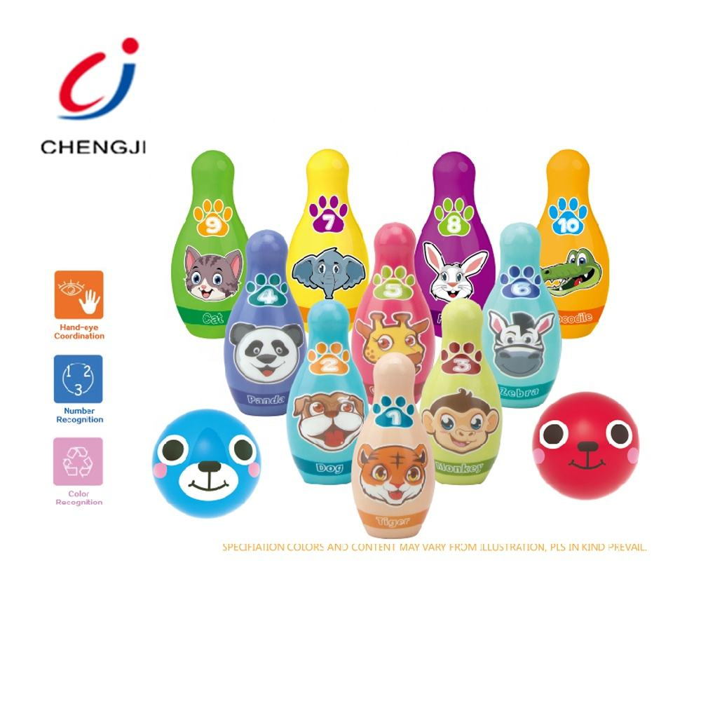 Indoor High Good Quality Kids Play Bowing Sport Set, Cartoon Animal Design PU Bowling Ball