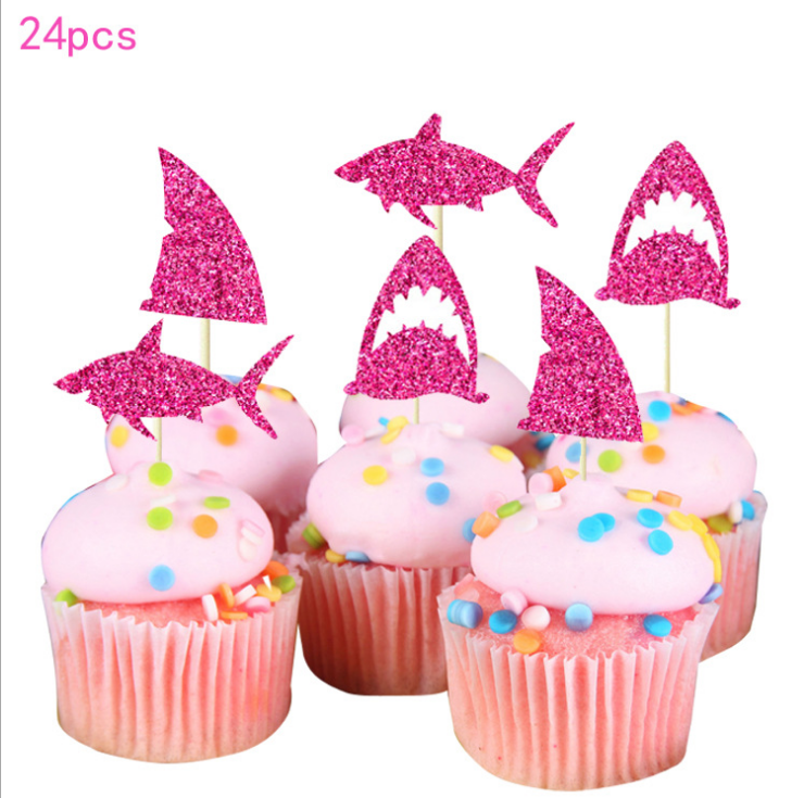 New Style 24PCS Girls Birthday Party Lovely Gifts Decorating Shining Shark Cake Cupcake Topper
