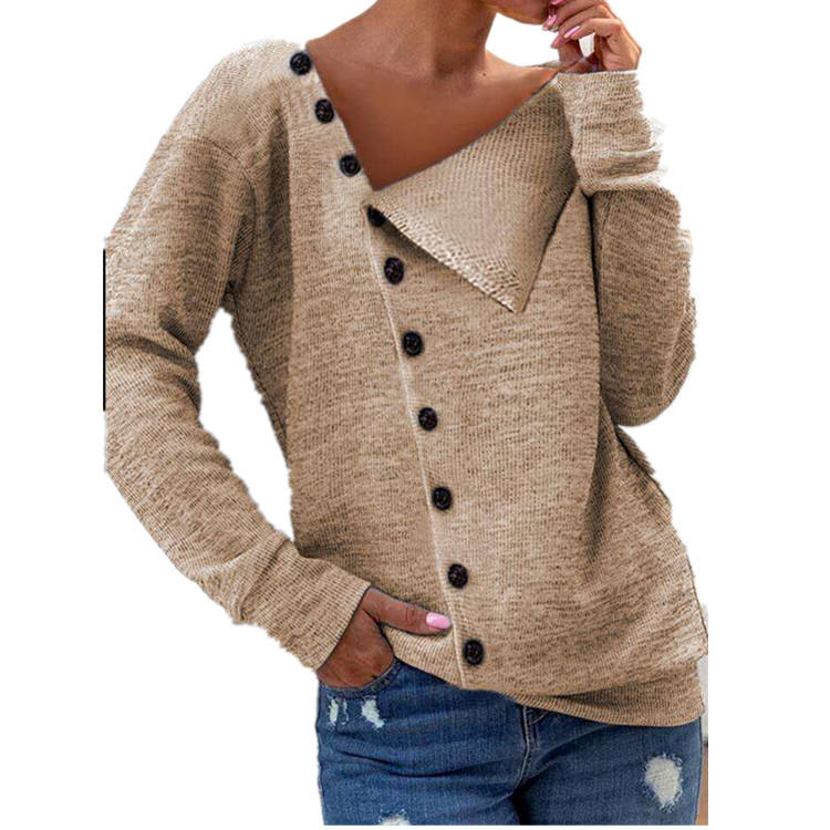 wholesale cheap Small moq knit clothing 2021 autumn winter trendy button long sleeve thin ladies sweater tunic tops blouse