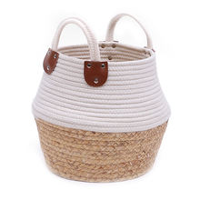 woven basket for plants Jute Spliced Seagrass Cotton Rope Plant Basket Modern Woven Storage Basket