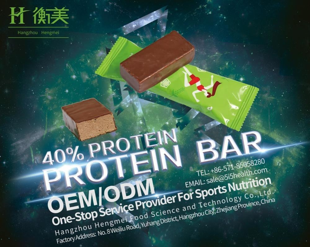 Private Label OEM High Protein 40% Sports Nutrition Protein Snacks Protein Bar