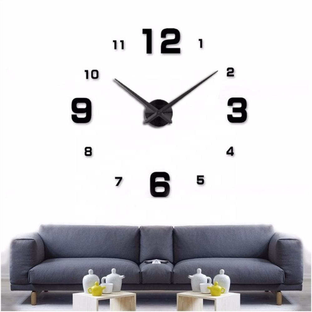 3D DIY Wall Clock Creative Design Mirror Surface Wall Decorative Sticker Watches