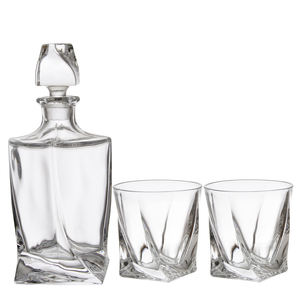 De diamante claro 750ml whisky vidrio whisky botella con vasos de whisky