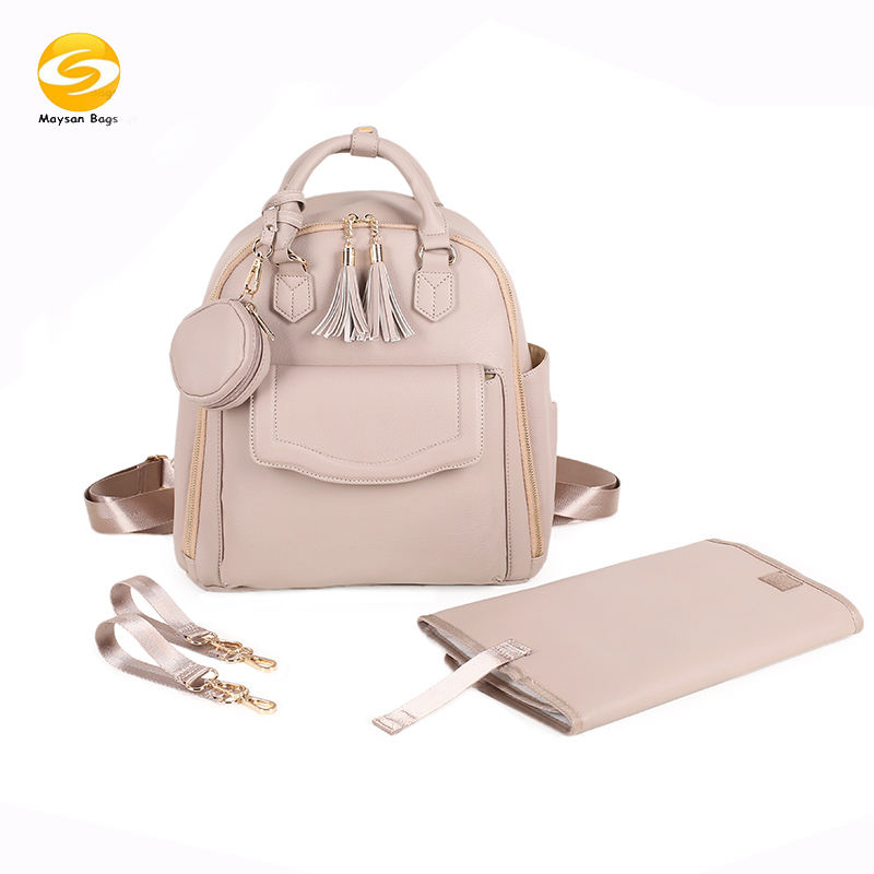 Fast Delivery Large Capacity Diaper Bag Waterproof Vegan Leather Diaper Backpack For Mom Multiple Color Baby Bag Changing Bag