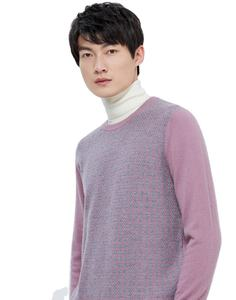 Hot Sale Custom Vintage Plain o-neck Matching-color Pink Knitted Cashmere men Winter Jumpers Sweater