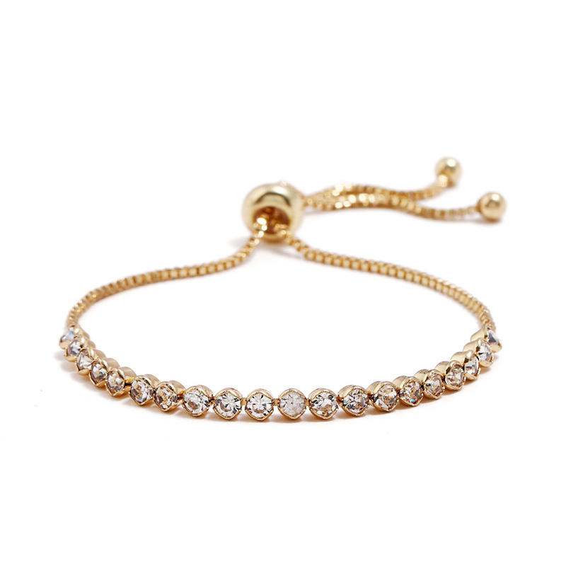 Simple 18k Gold Filled Box Chain Adjustable Crystal Rhinestone Bracelet Bangles Adjustable Zirconia Tennis Bracelet