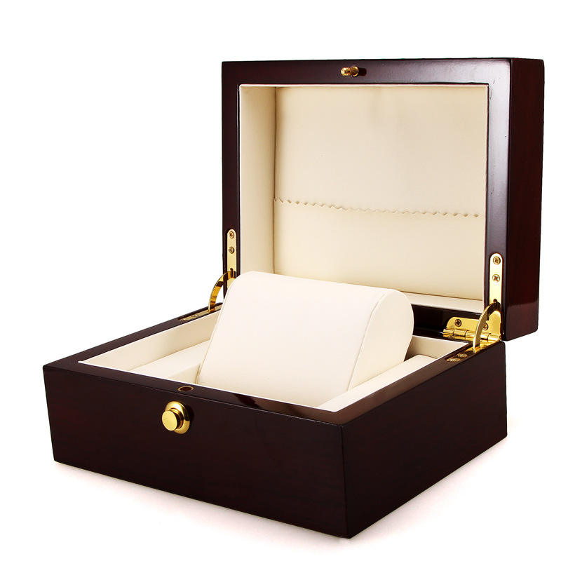 High Quality Glossy Lacquer Watch Box Gift Storage Box Private Logo Wood Luxury Watch Packaging Box Case
