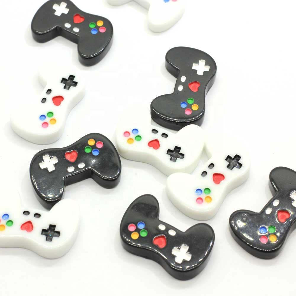 White Black Color 100PCS Miniature Game Controller Flatback Resin Cabochon Kawaii Flat Cabochons DIY Craft Decoration