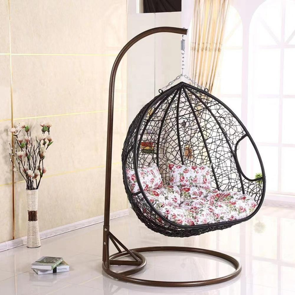 Best Seller Outdoor and indoor Wicker Rattan Double Seat Egg basket with Metal Stand Hanging Chair swing