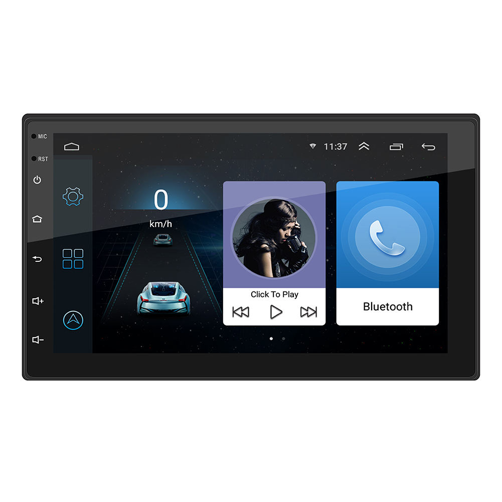 Radio Mobil 2 Din Android 7 Inci FM Bluetooth Layar Sentuh HD USB Wifi Aux-in Mp5 Pemutar Gps