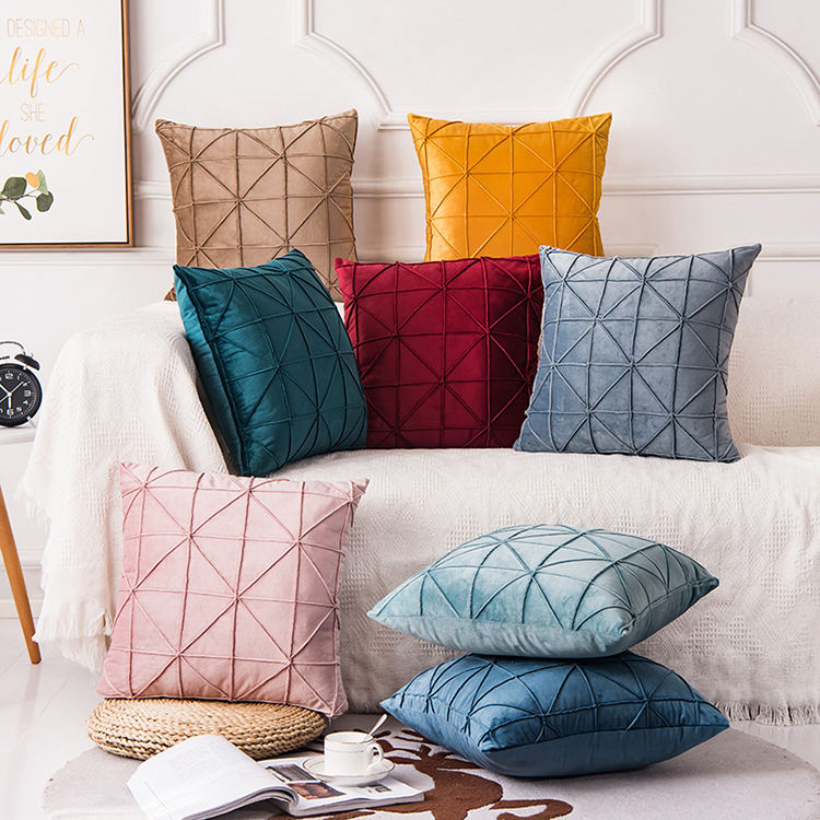 Nordic simple style solid color Dutch velvet pillow cushion cover wholesale