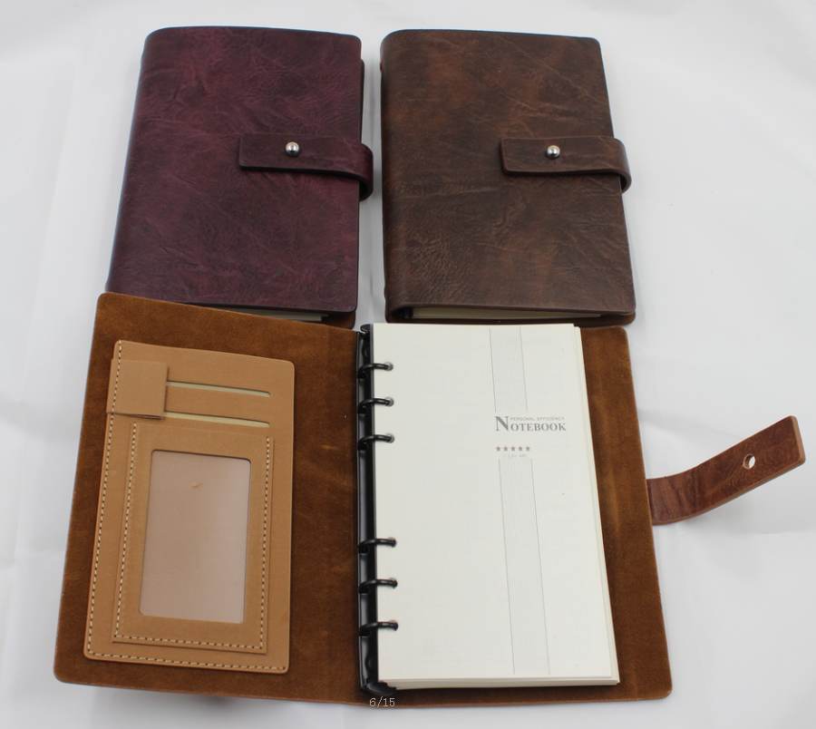 luxury any size any color handmade custom embossing logo on leather notebook with pen /note book