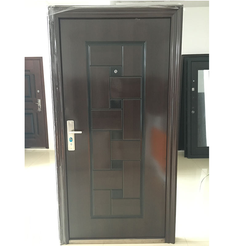 Single leaf steel entry doors exterior, stock ready cheap wrought iron door
