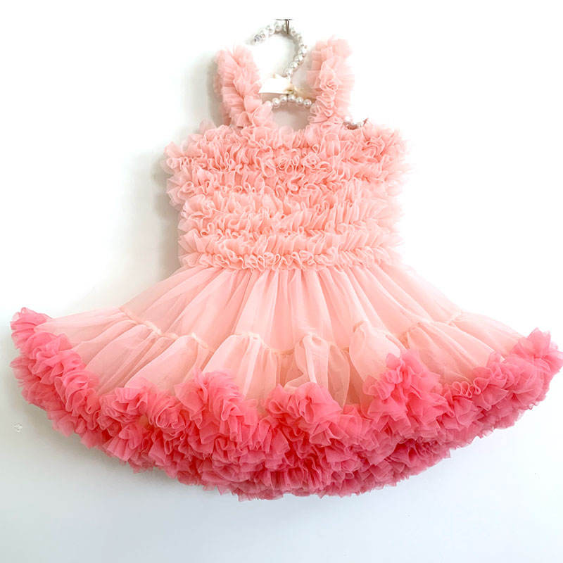 Wholesale Pink Chiffon Frocks Designs Soft Ruffle Kids Baby Girls Princess Party Tutu Dress