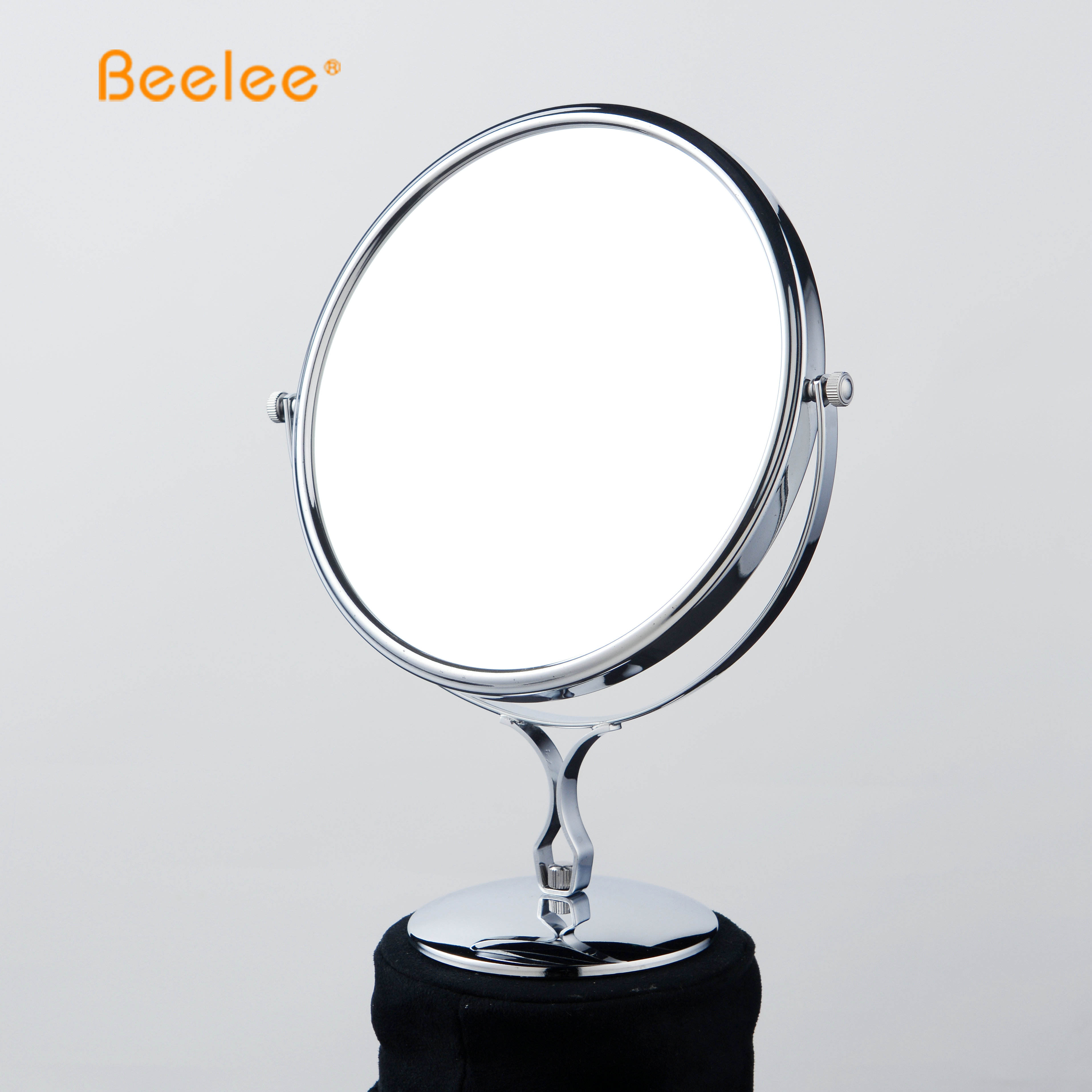 Beelee Round Brass SS Pedestal Desk Mount Smart Makeup Mirror