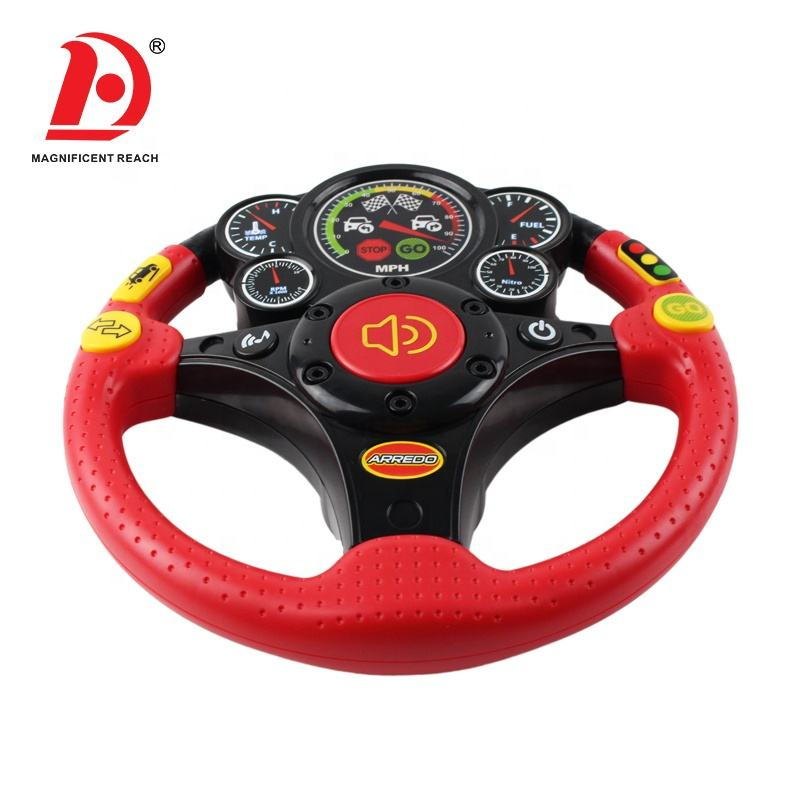 HUADA 2019 Russian Battery Operated Kids Electronic Musical Vibrating Plastic Car Steering Wheel Toy